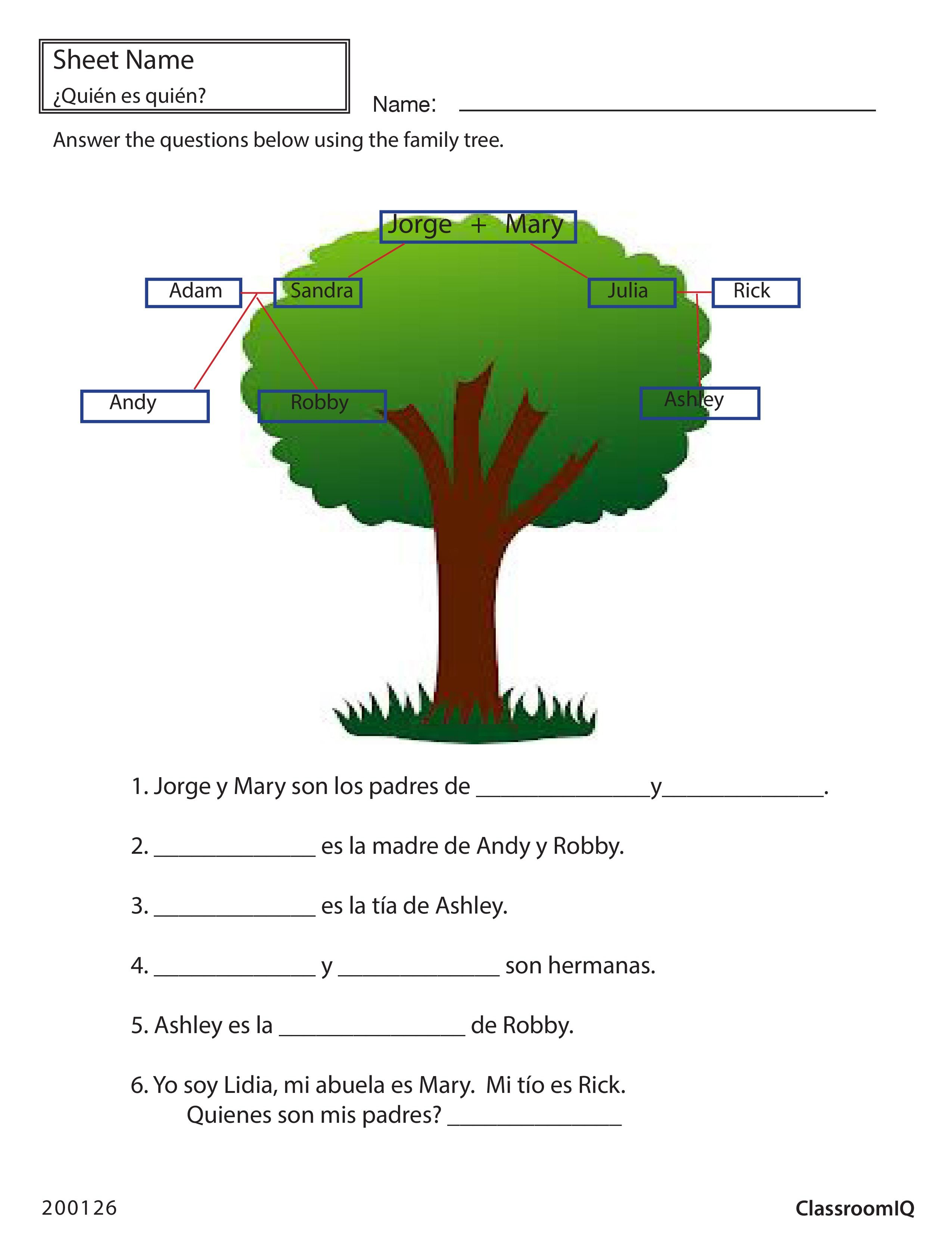 Spanish Family Tree Spanishworksheets Classroomiq Newteachers