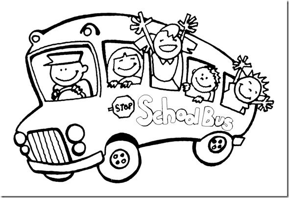 coloring page school bus with kids bus stuff â pinterest