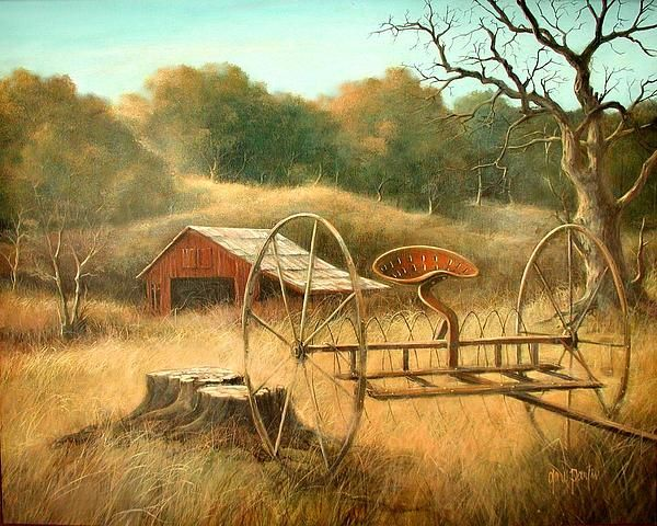 Old Barn And Hay Rake Painting By Gary Partin The Home Place Pinterest Barn Paintings And