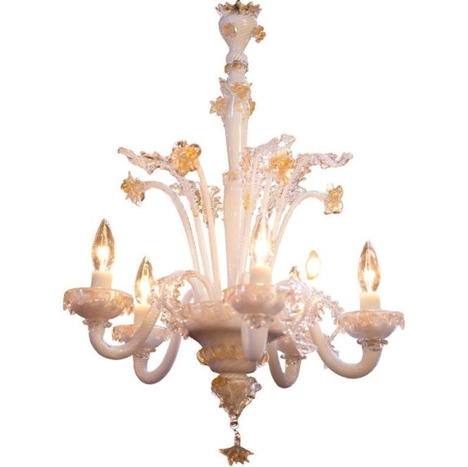 Vintage Milkglass Murano Chandelier With Gold Accents