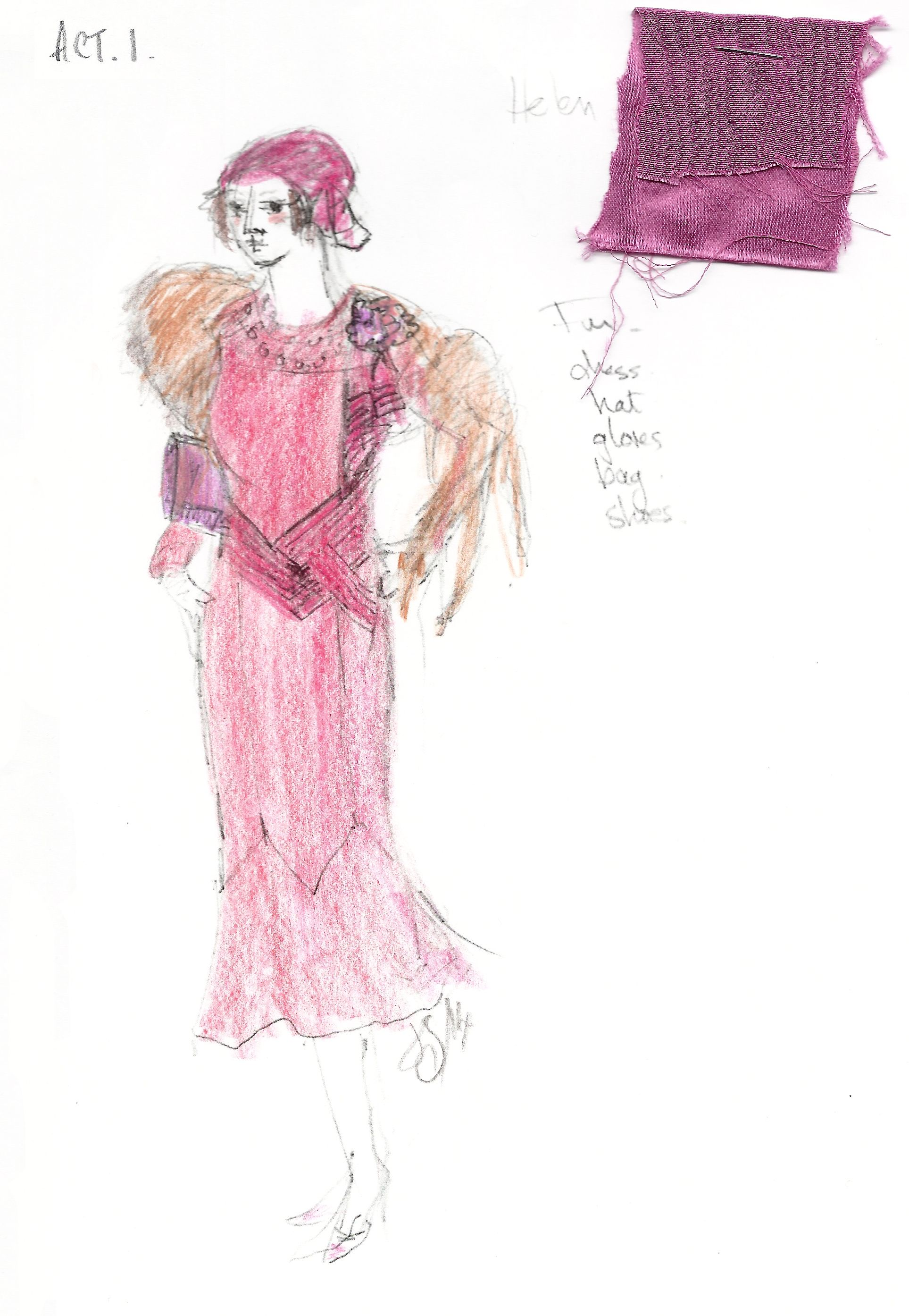 """A costume sketch from """"Act One"""" by Tonynominated designer"""