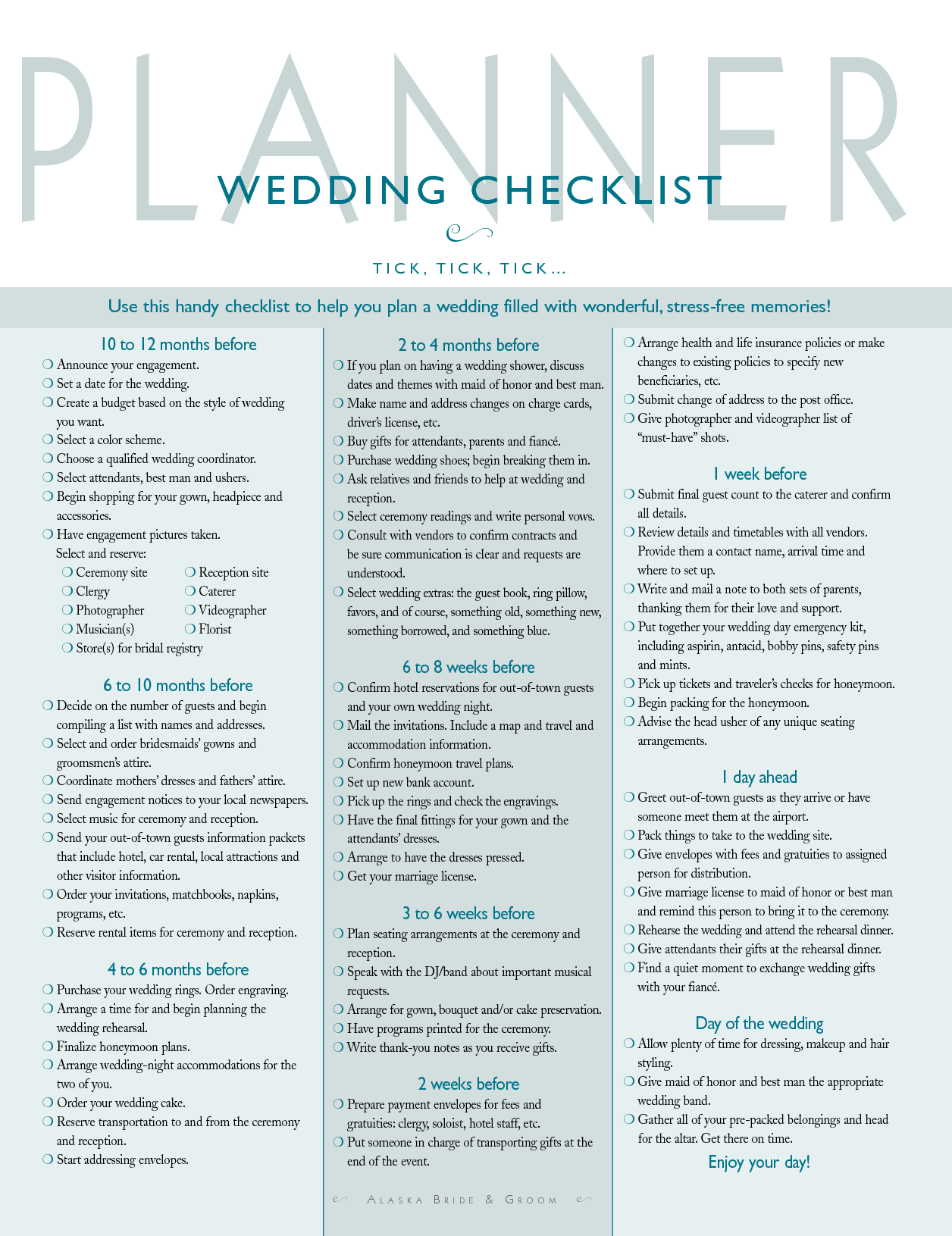 Wedding Organization / Planning A Guide for the