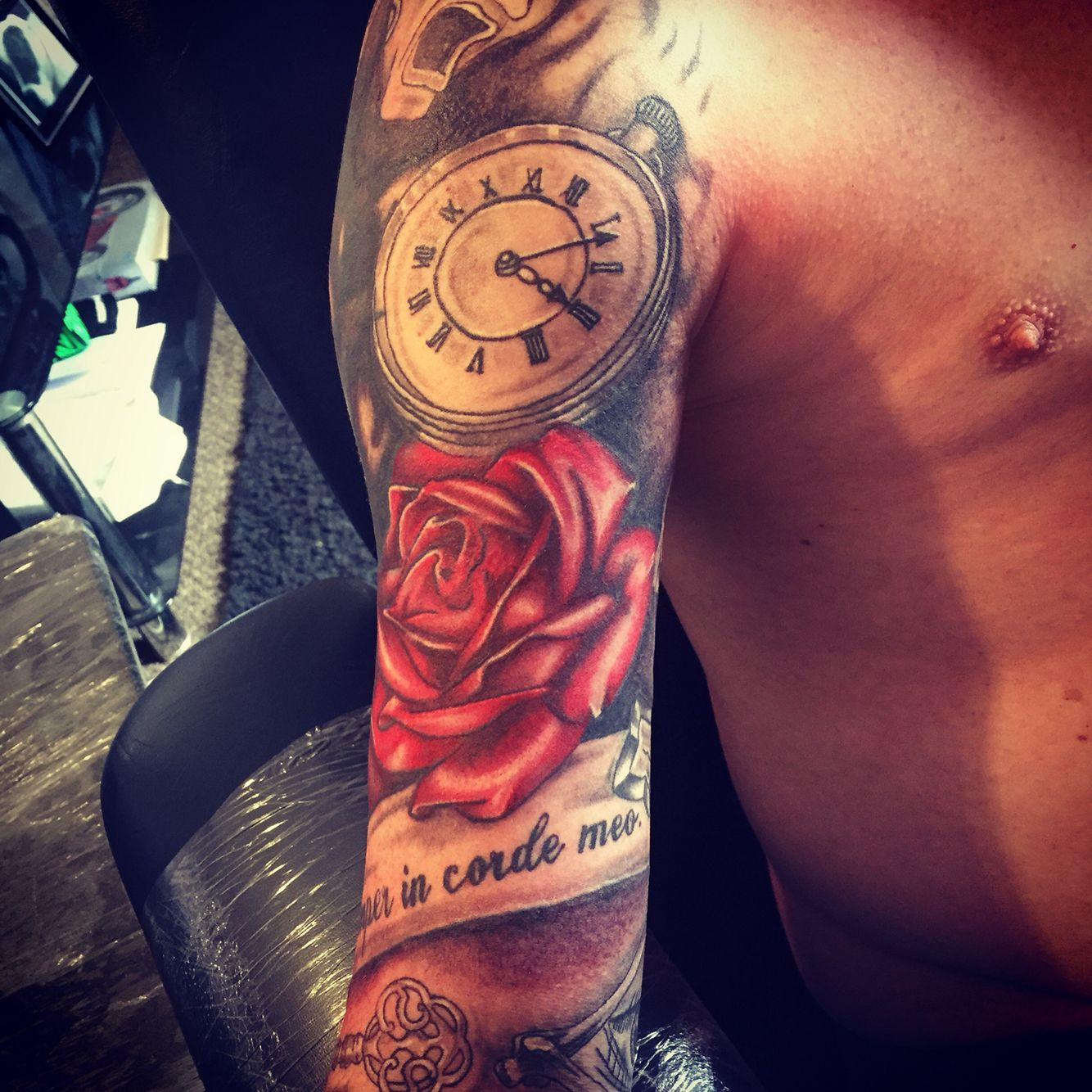 Tribal cover up,half sleeve,roses,clock,tattoo Tattoo