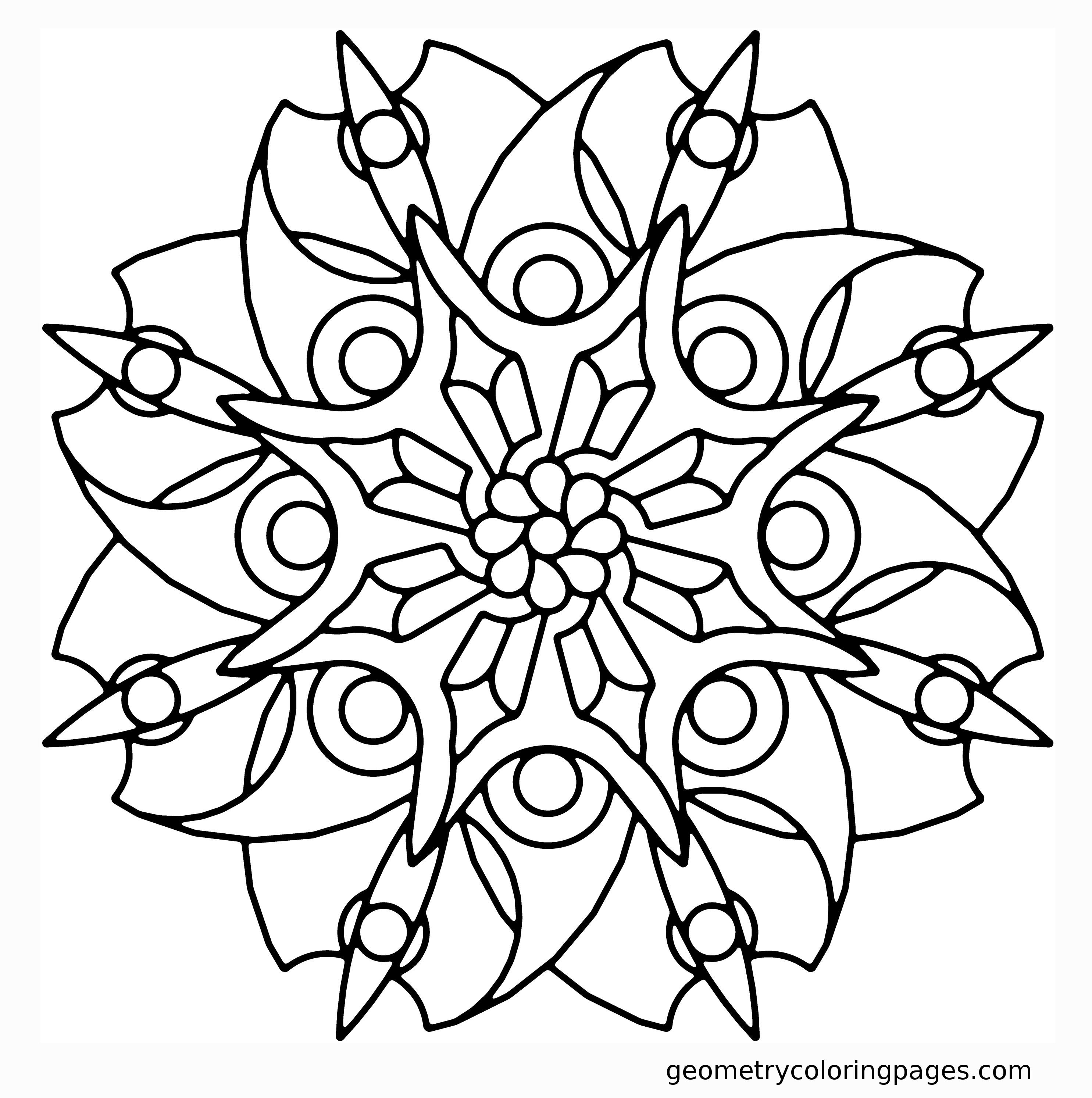 Geometry Coloring Page, Blade Flower Adult Coloring