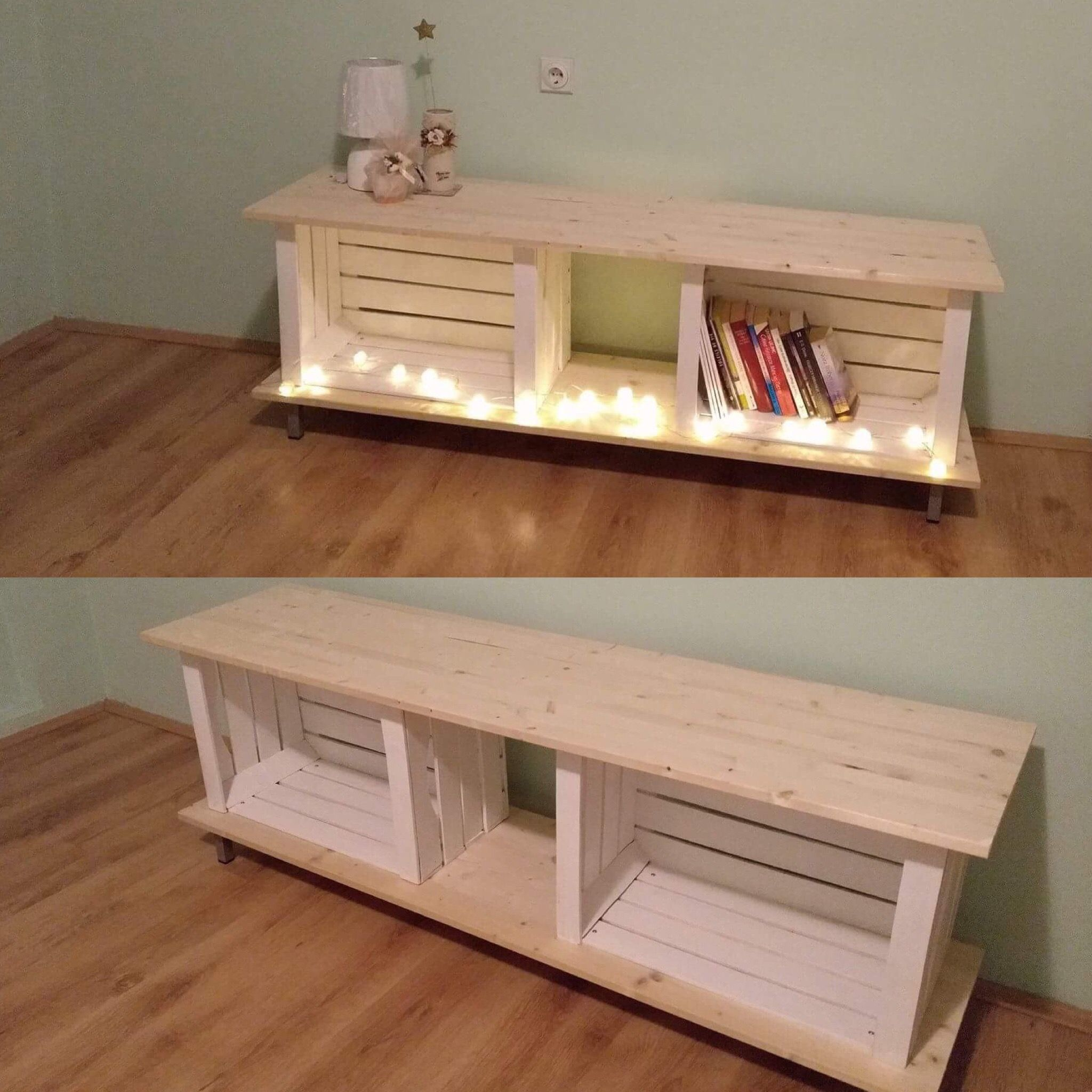 Our first DIY project. Wooden crates Pinterest inspired tv
