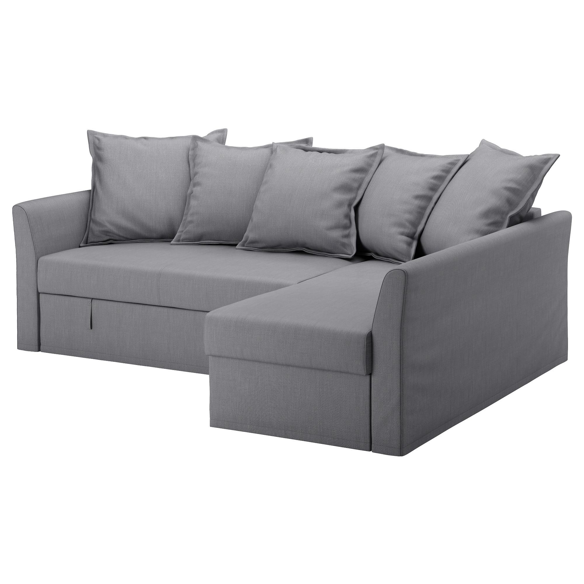 HOLMSUND Corner sofabed, Nordvalla medium grey Chaise