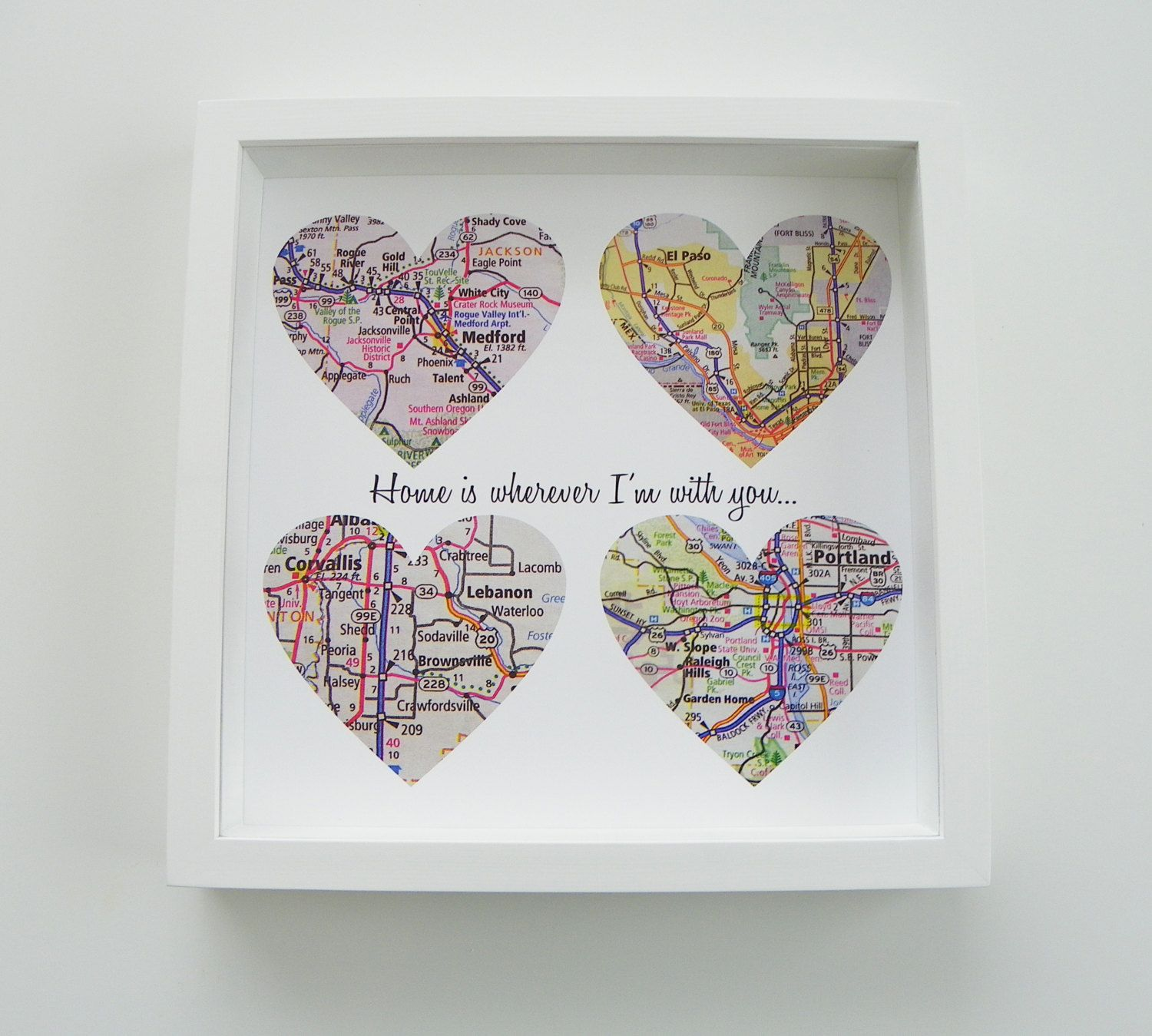 Unique Wedding Gift Personalized Map Heart Art Gift Any