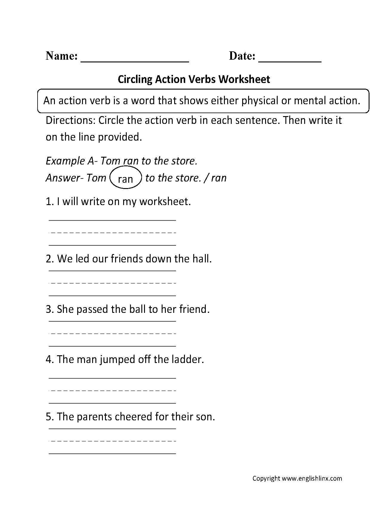 Circling Action Verbs Worksheet