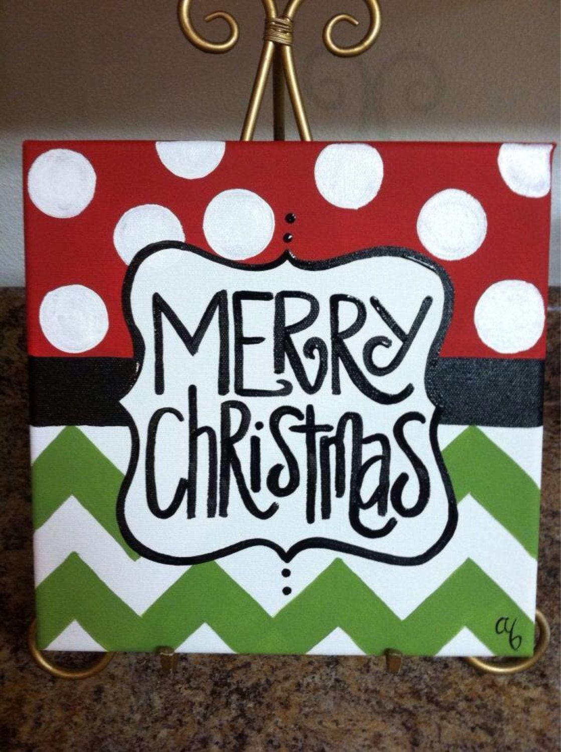 12x12 Christmas Canvases by Artbyab on Etsy.. easy enough