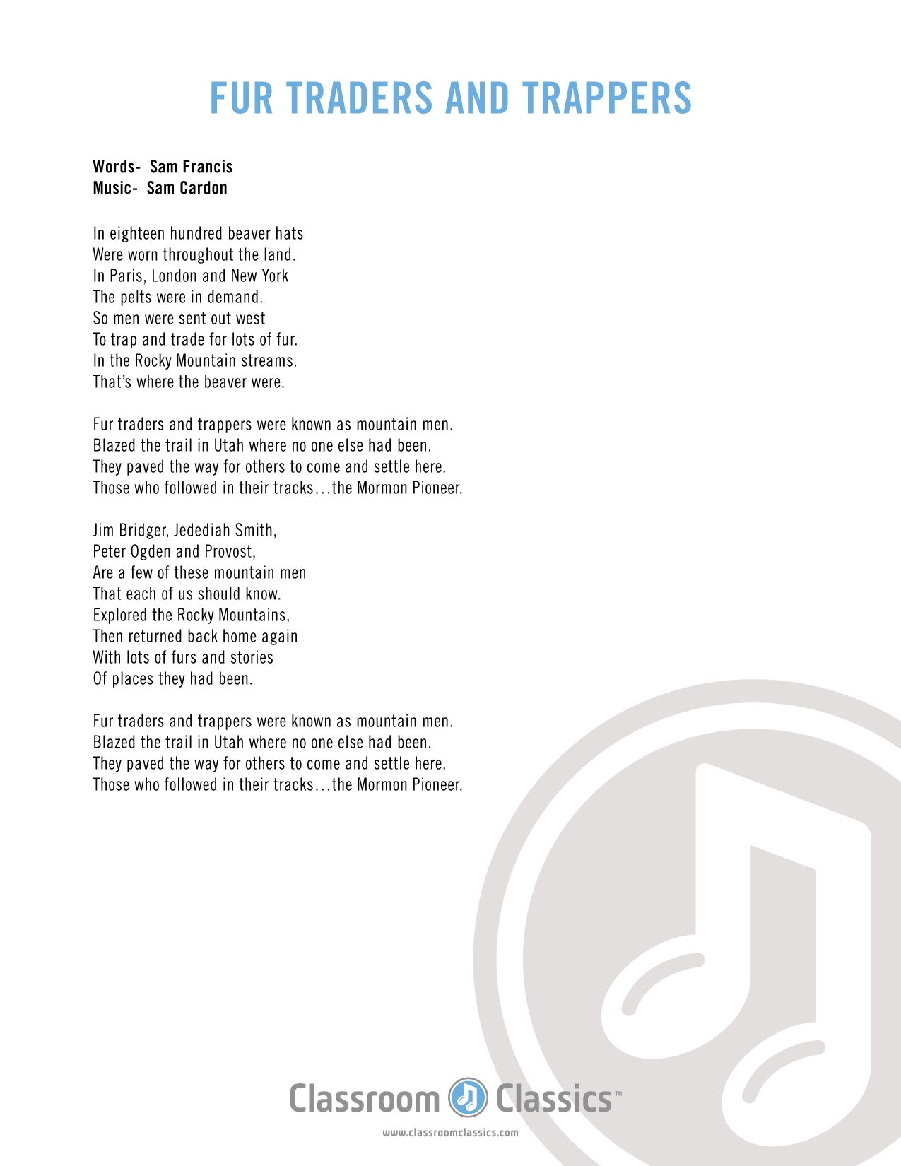 Fur Traders And Trappers Lyric Sheet