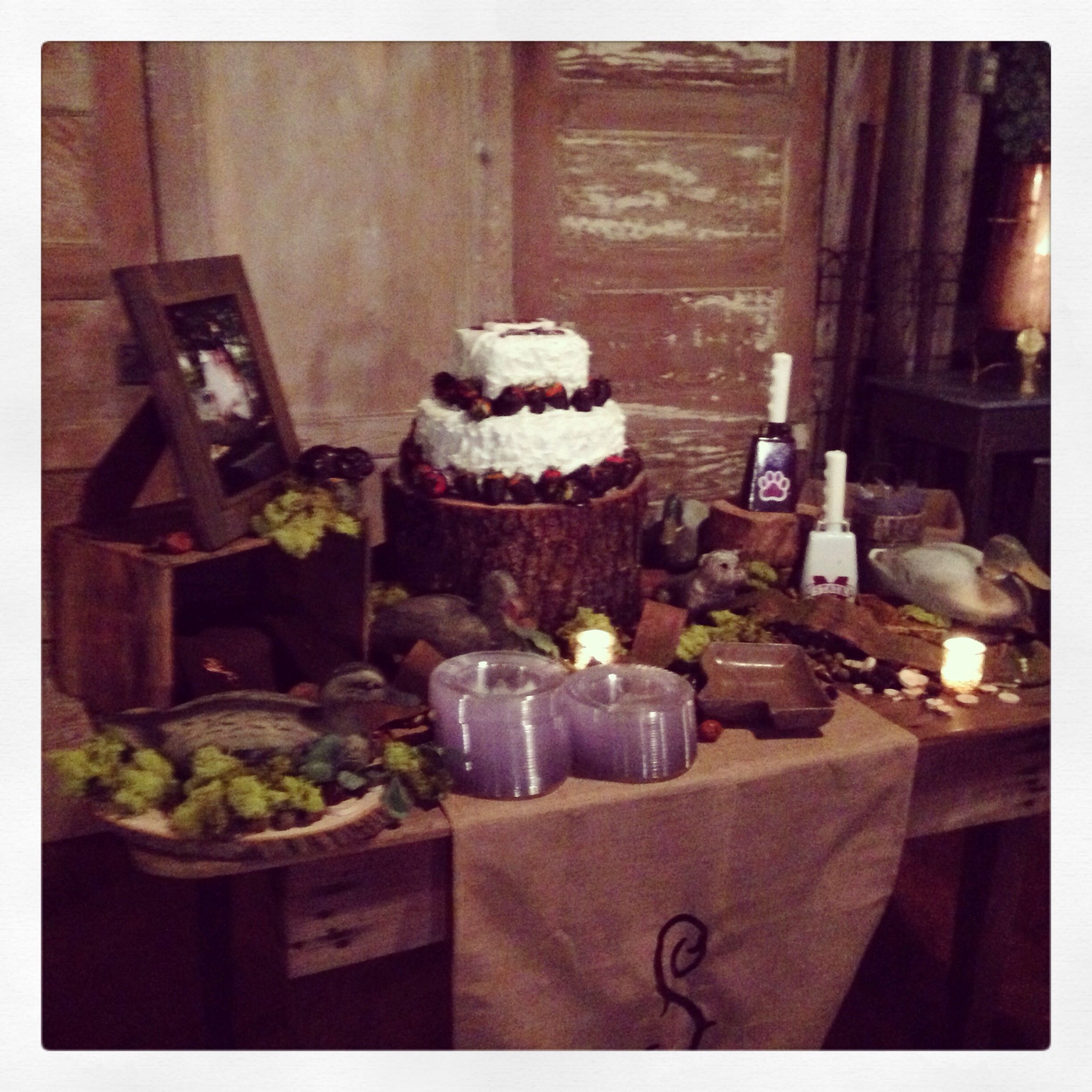 Drews Cake Table MSU Hunting And Rustic Themed With