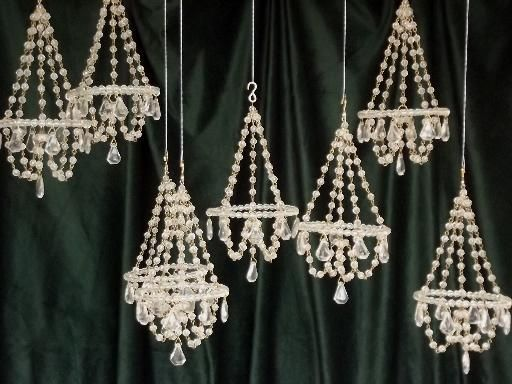 Mini Crystal Chandelier Ornaments Glass Bead Chandeliers Set To Hang
