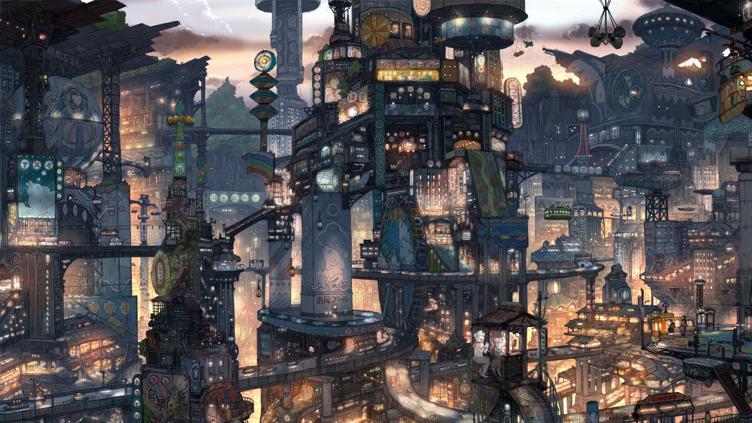 cityscapes futuristic artwork / 2560x1440 Wallpaper