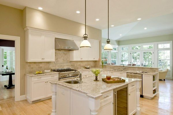 Modern Kitchen Bianco Romano Granite Countertops White