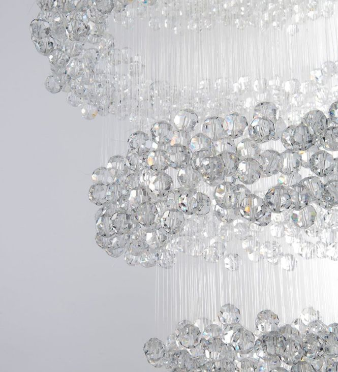 Eva Menz Design Chandelier Invisible Crystal Perspex Nylon Enchanting Minimal Sparkling