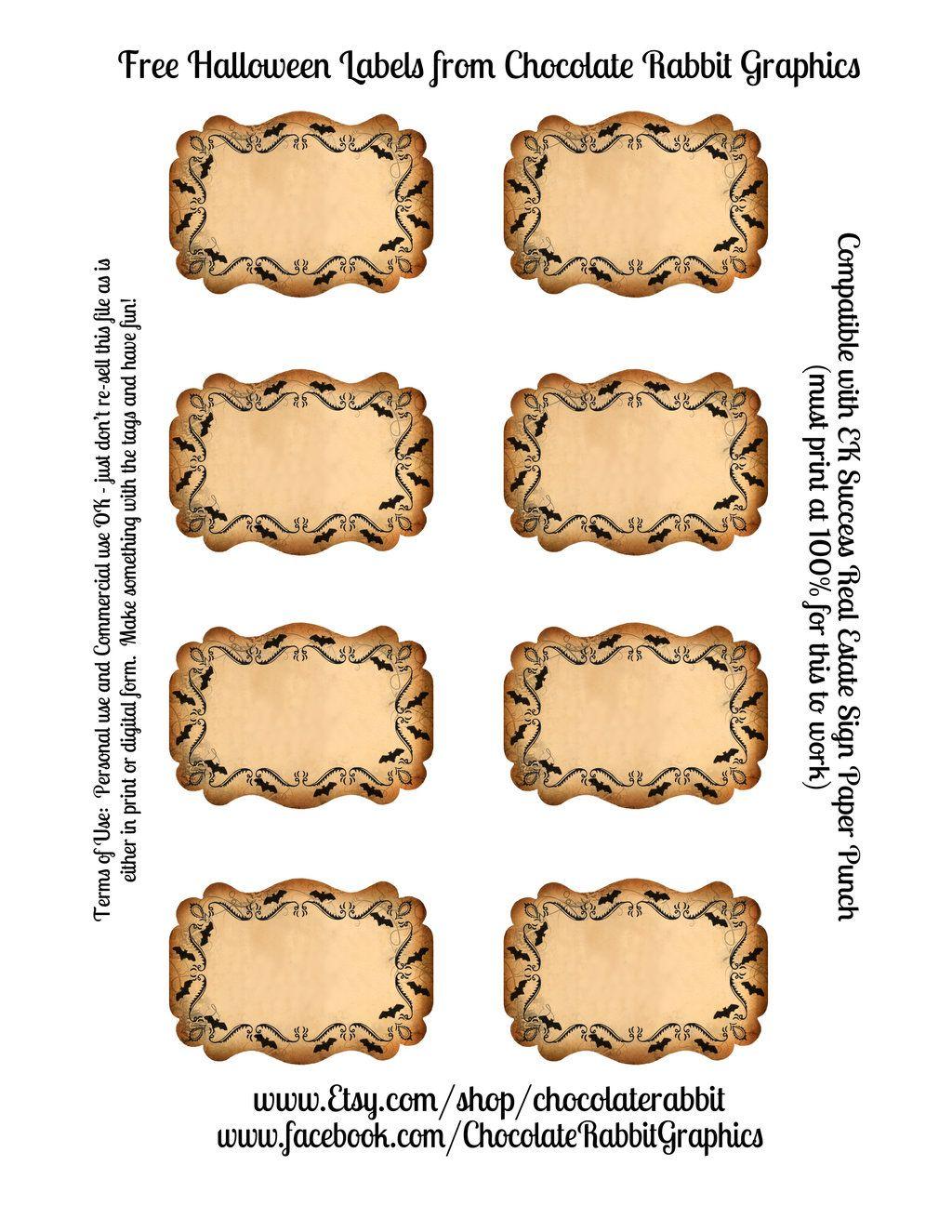 Free Halloween Blank Labels By Chocolate Rabbit Viantart On Deviantart