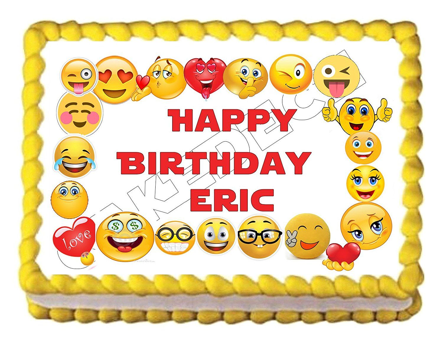 Amazon Emoji Border Edible Party Cake Topper