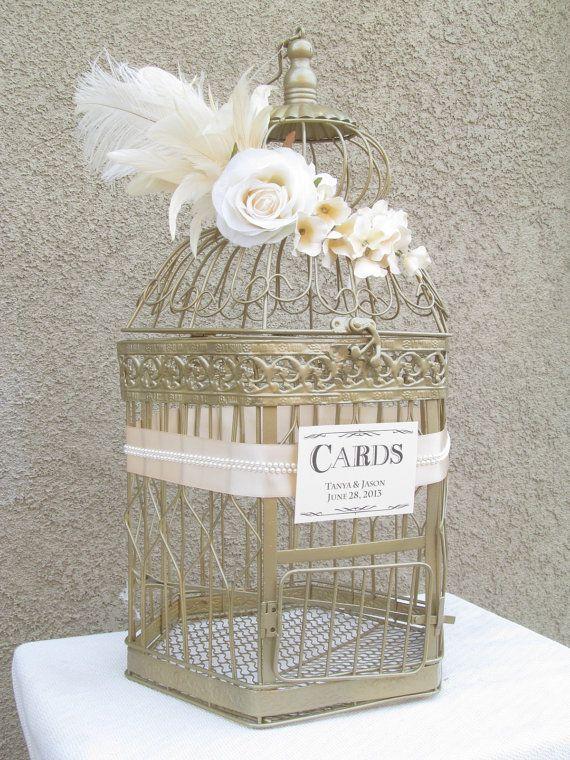 Wedding Card Box X Large / Champagne / Pearls / Art Deco