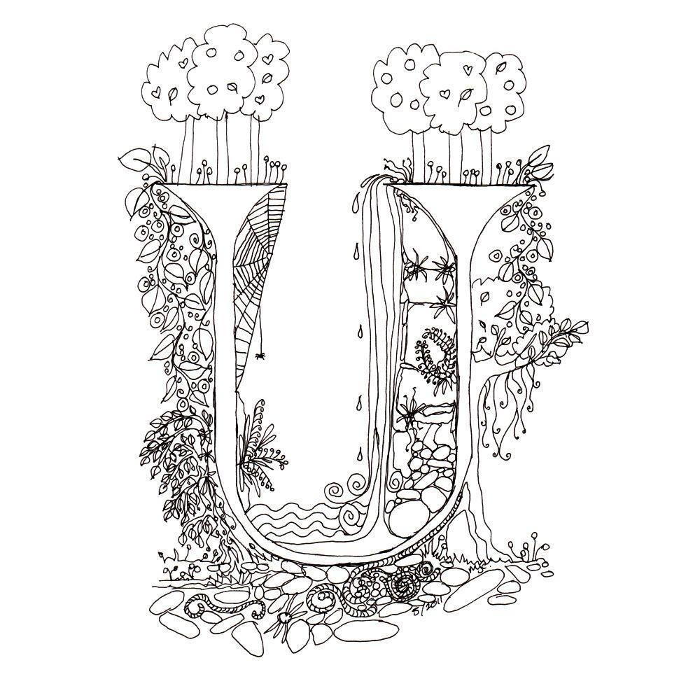 Zentangle Illuminated U Illuminated Letters Pinterest