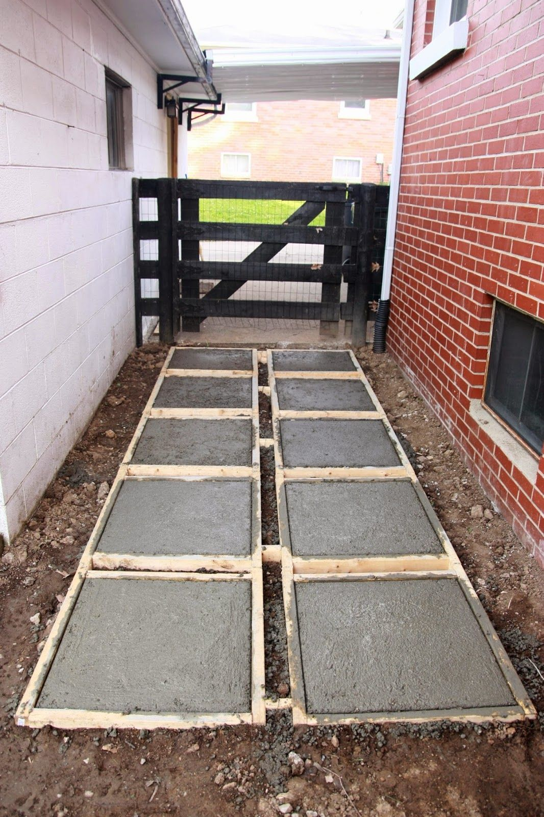 Over on Dover Pouring Concrete Pavers Backyard Makeover