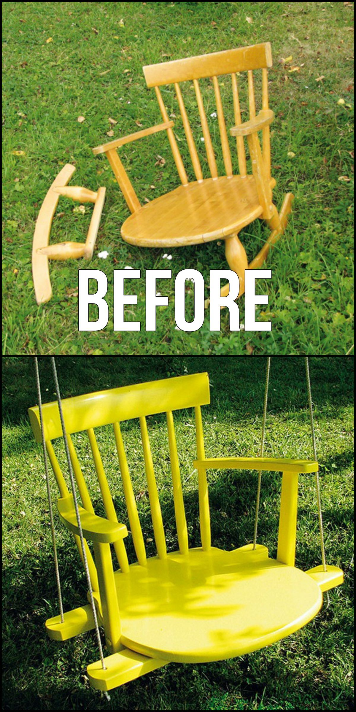 How To Turn An Old Chair Into A Chair Swing http