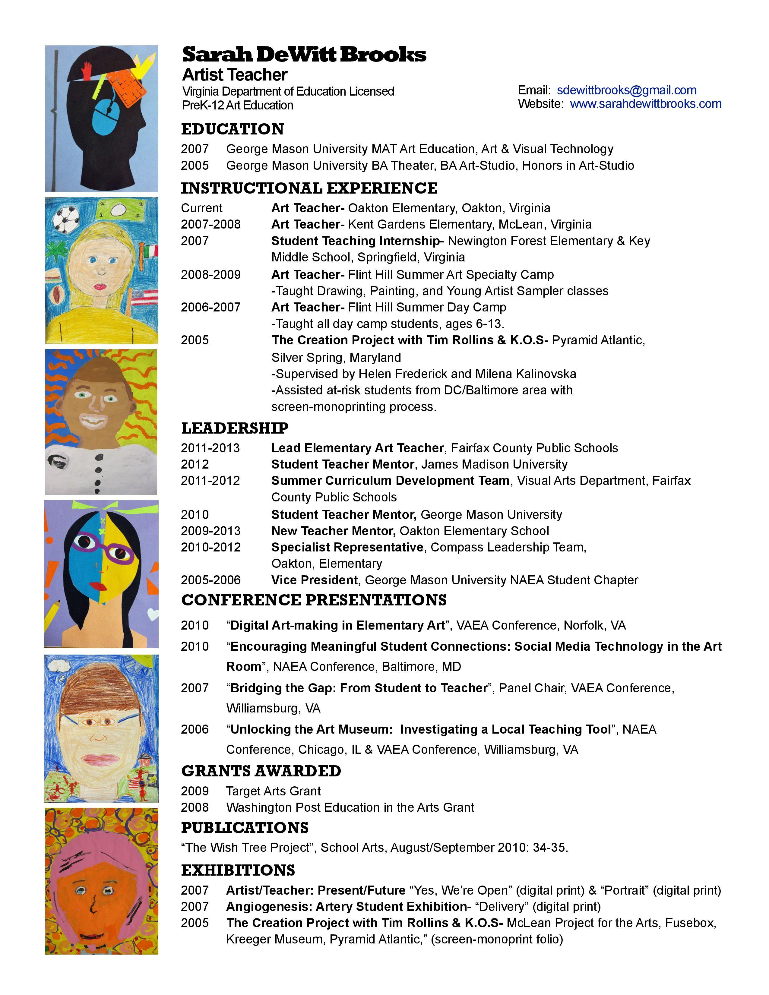 Art Teacher Resume Of Art Teacher Resume Examples Latest