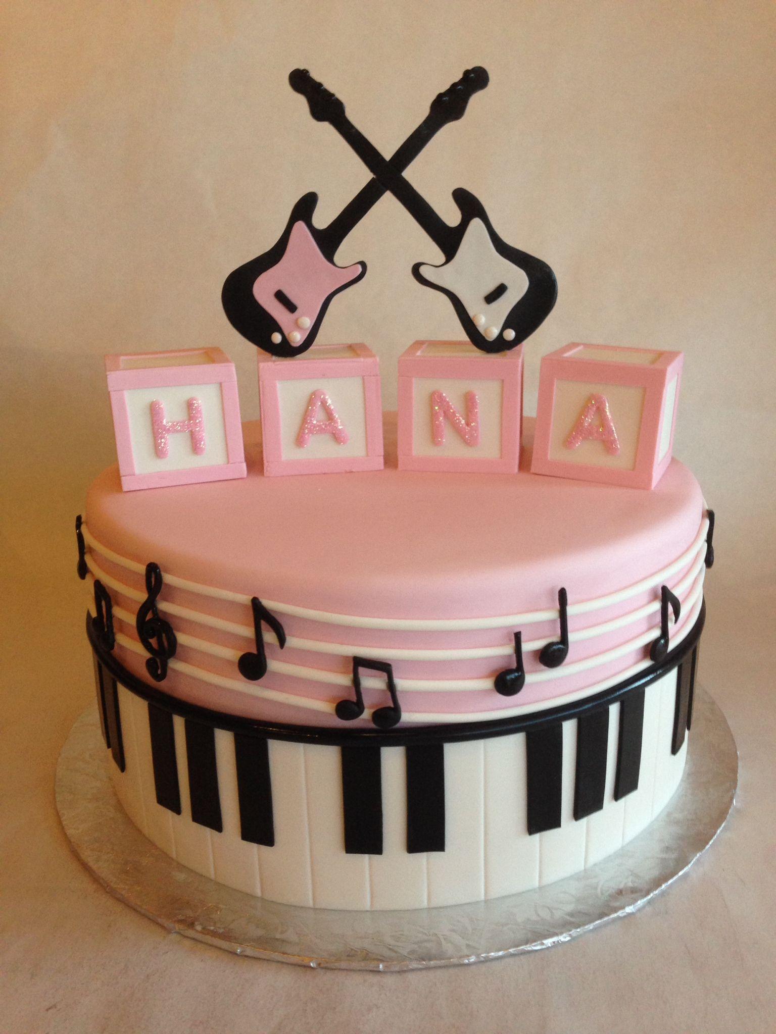 Fondant musical baby shower cake Baby blocks Electric