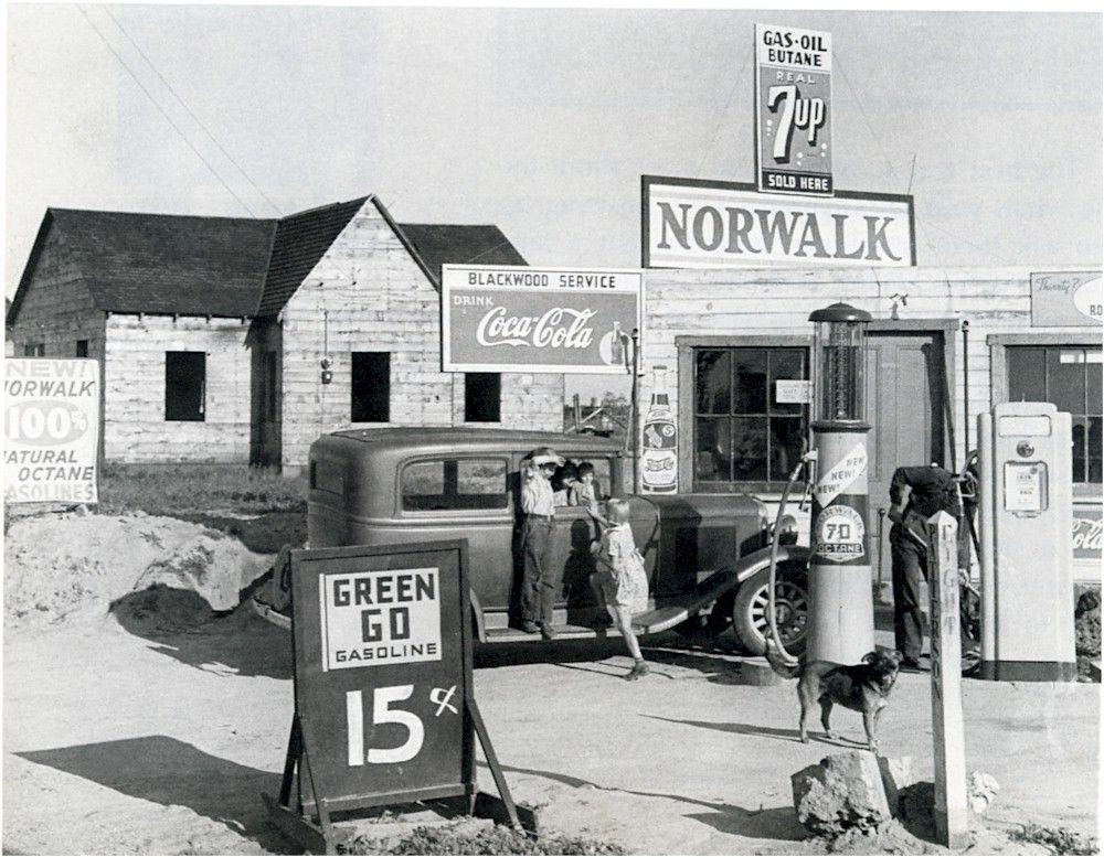 Norwalk Gas Station Riverbank, CA.1940 Not our Norwalk