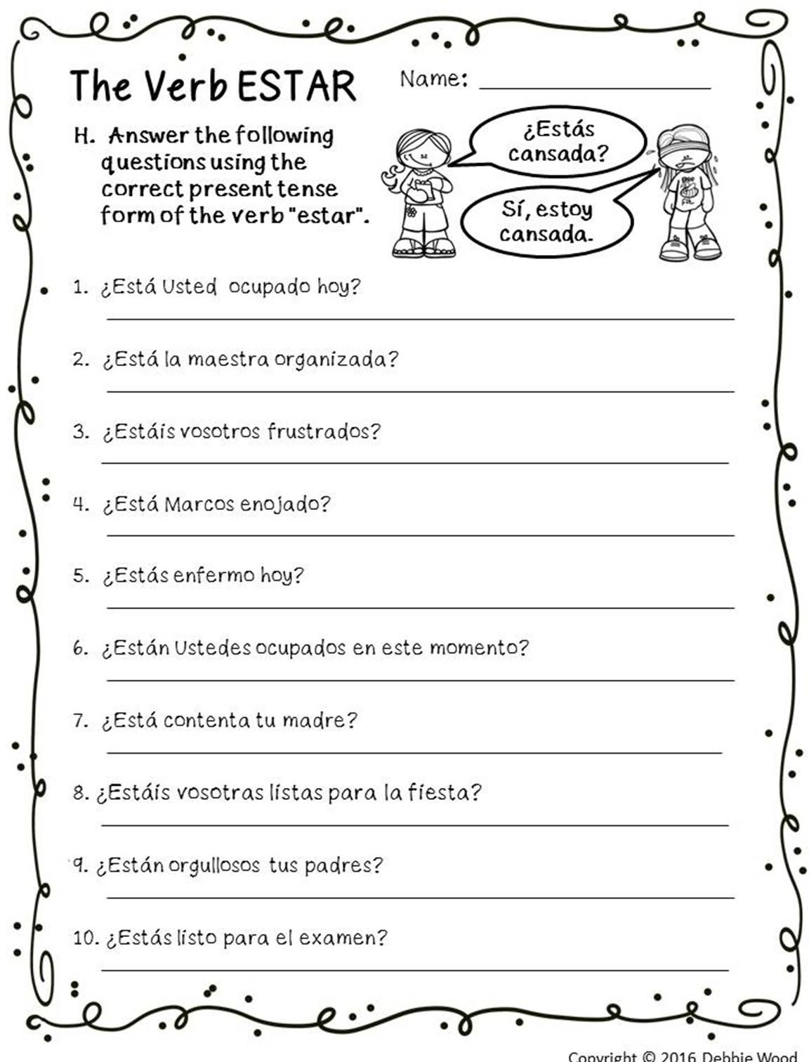 Spanish Verb Estar Posters And Worksheets Classroom Decor