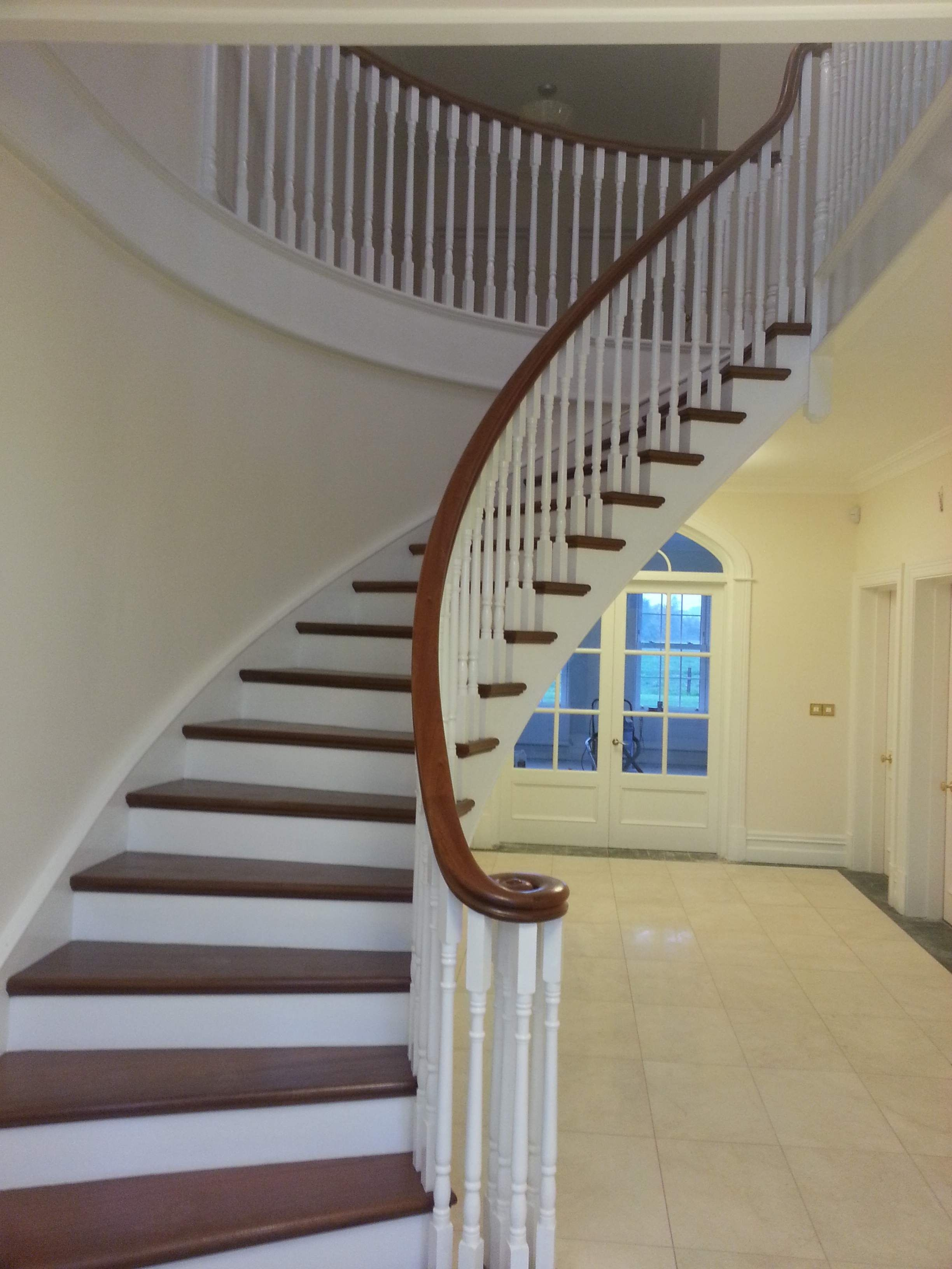 Curved Stairs With Mahogany Treads And Handrail Stairs | Mahogany Handrails For Stairs