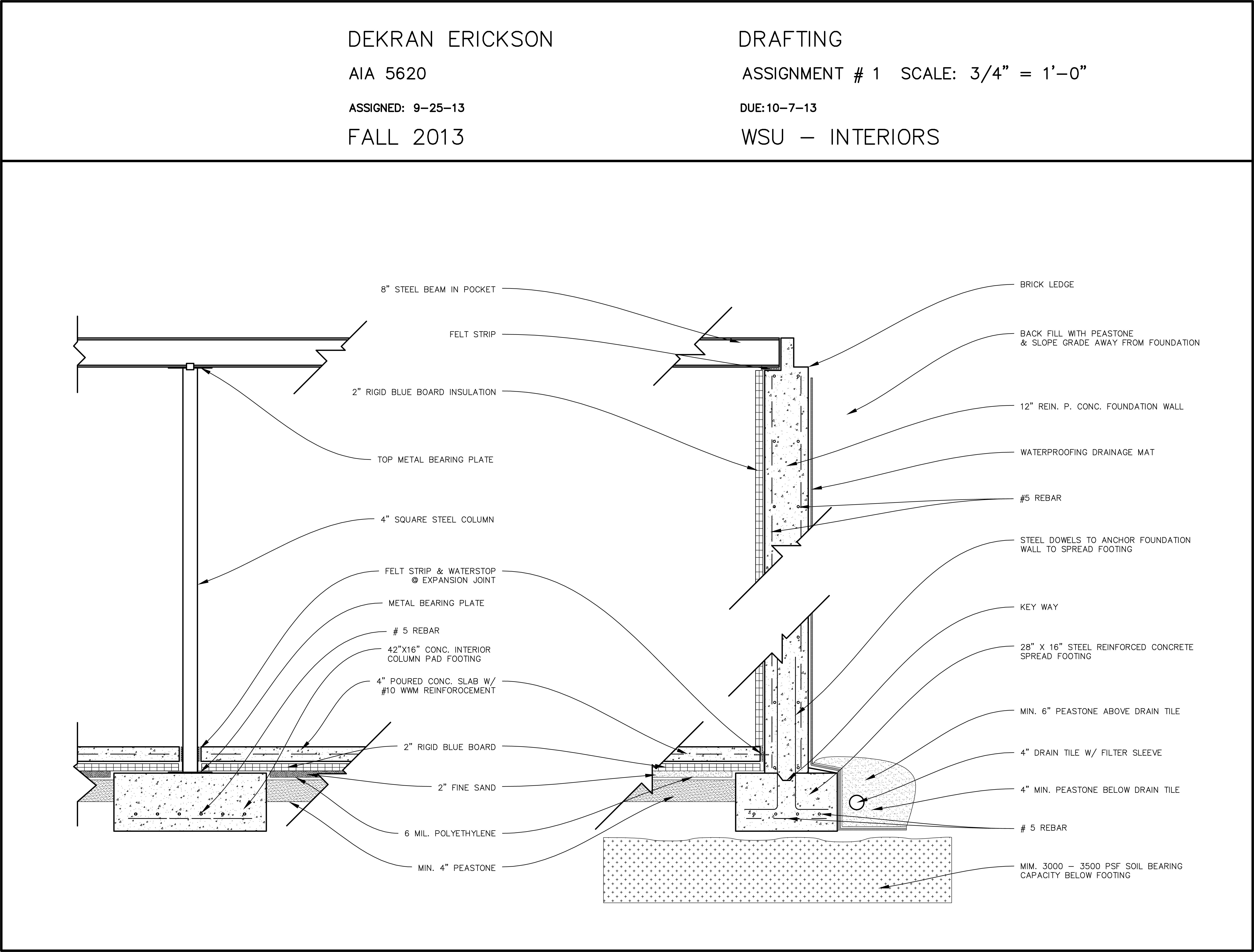 Foundation Section Elevation Autocad Drawing For Aia