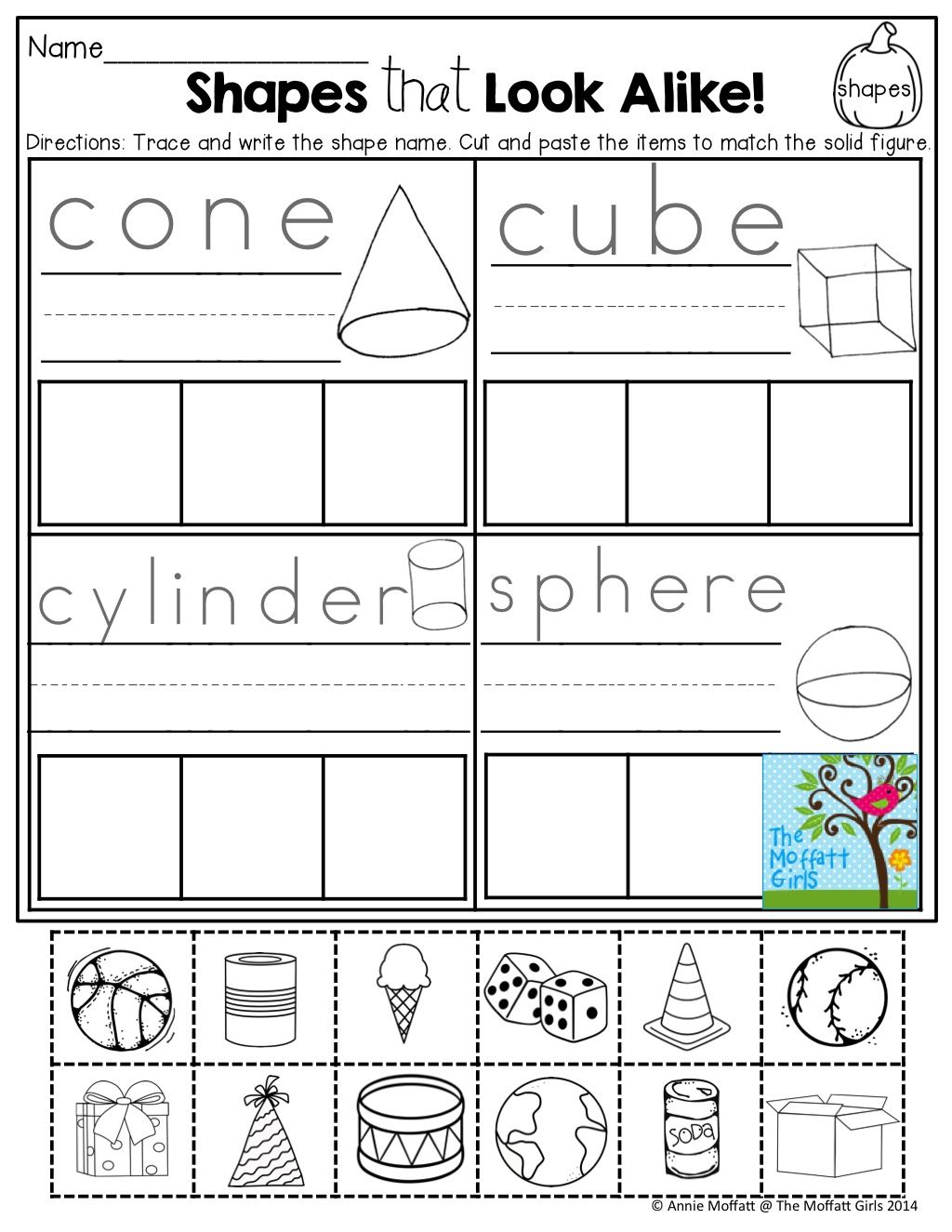 Solid Figure Worksheet For Kindergarten