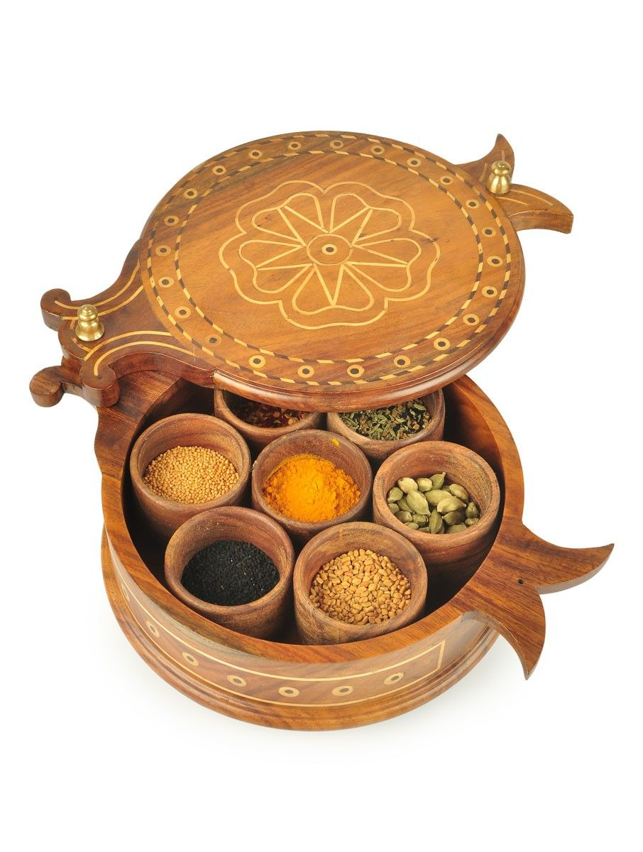 Buy tural Brown Masala Dabba Wood Bronze Online at Jaypore
