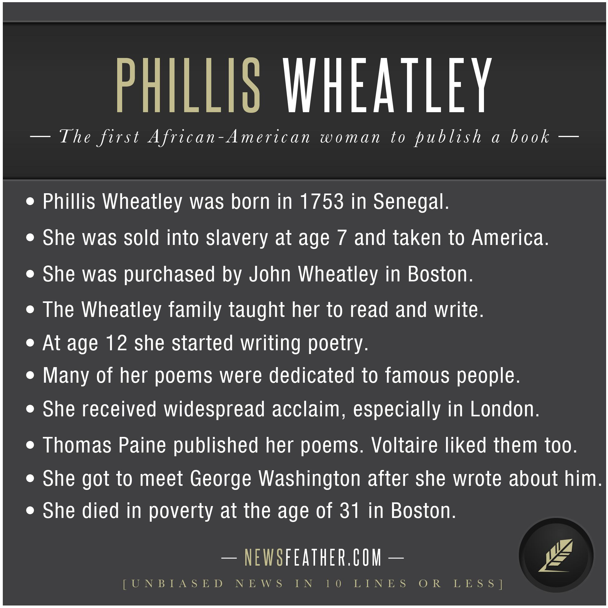 Phillis Wheatley Was Born In Africa Sold Into Slavery In