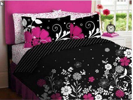 Pink Black S Queen Comforter Sheet Set 7 Piece Bed In A