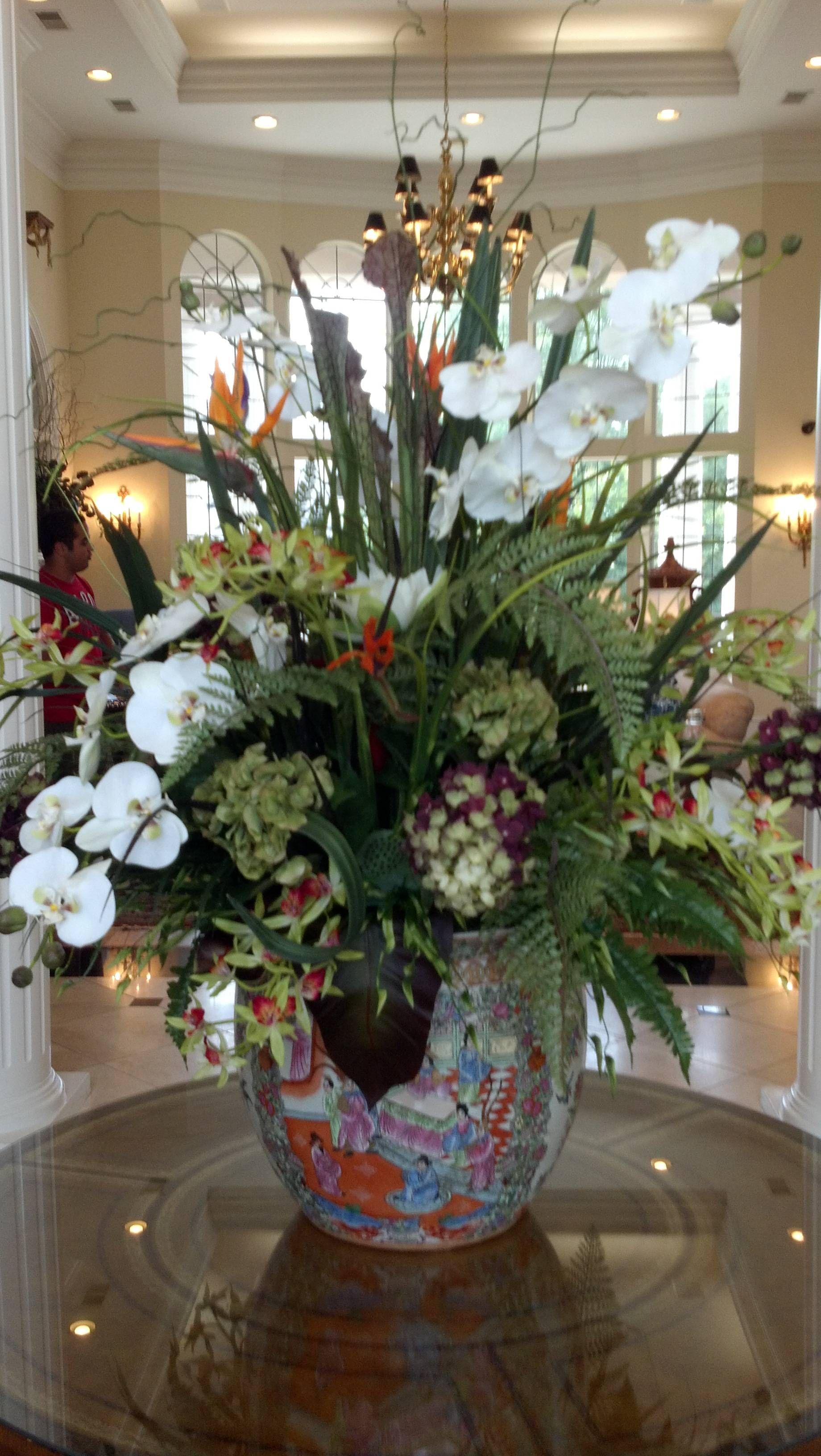 Big and bold silk flower arrangements. Homestyle