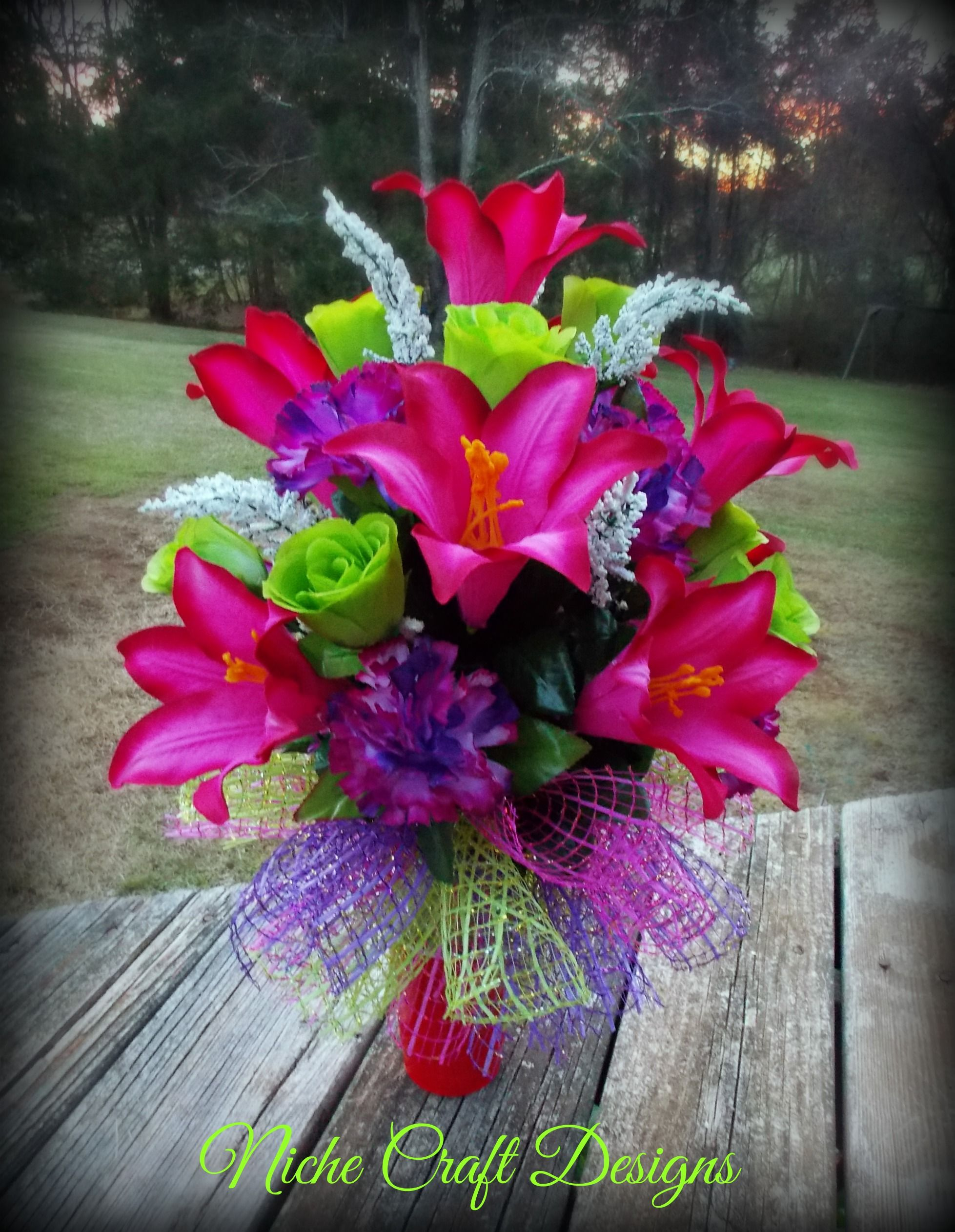 Spring flowers arrangement for a cemetery vase. My