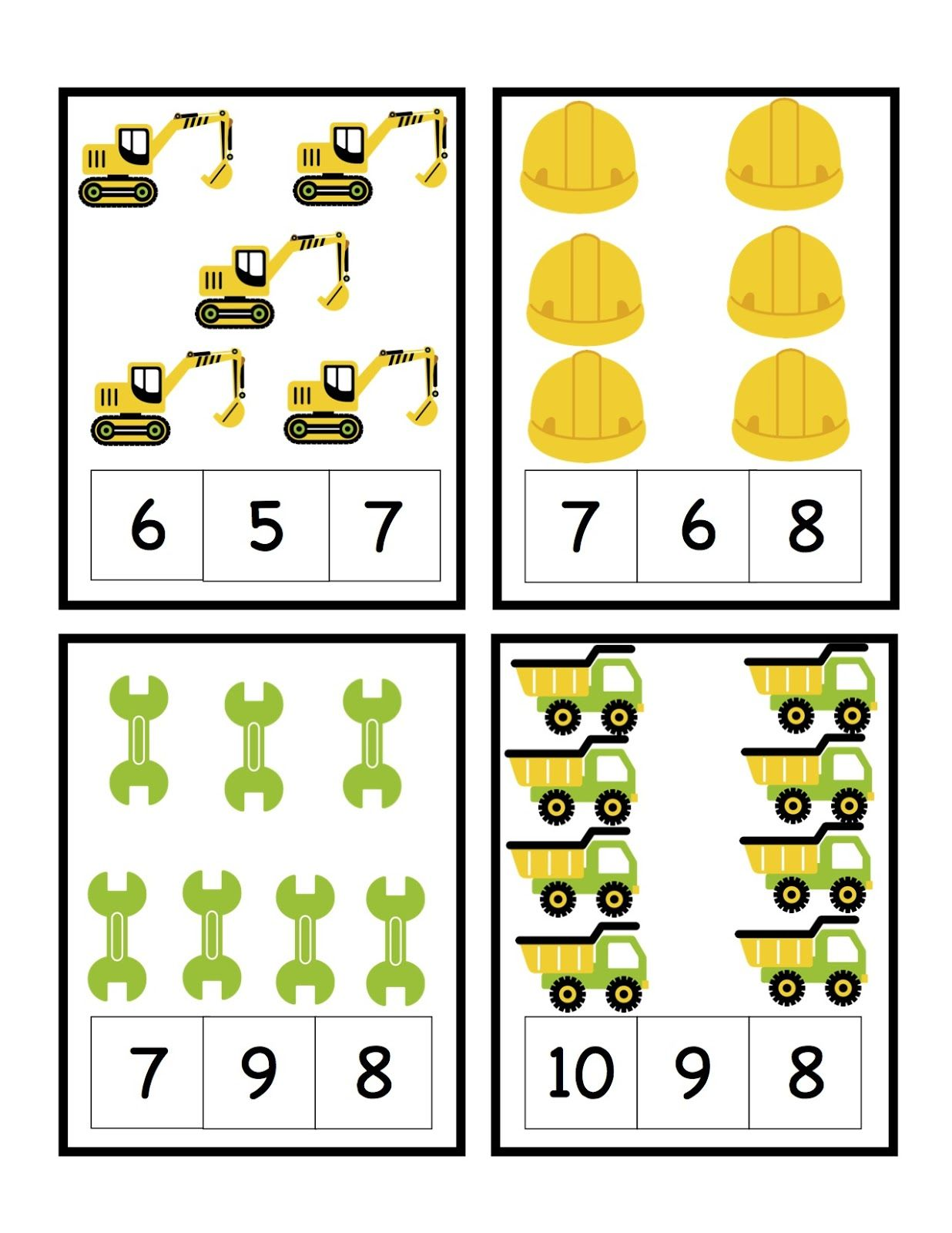 Preschool Printables Construction Printables Counting And Letters Matching Etc