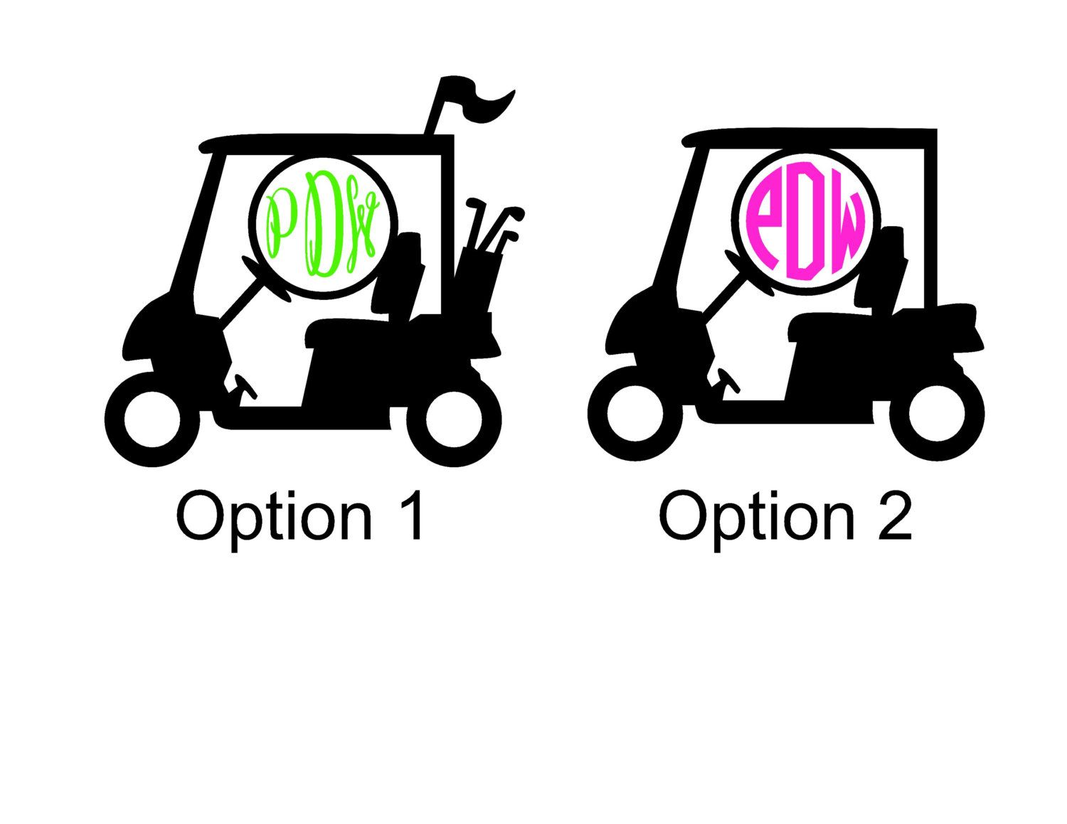 Golf Cart Monogram Sticker Vinyl Decal By