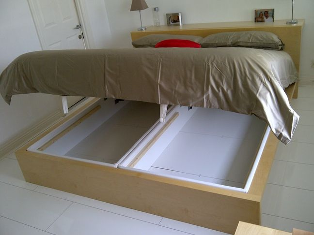 Malm Marries Alsarp Storage Bed Ikea Hack For King Size Looks Like I Could Just Build A Box Around The Inner White Bo So Dont Have To