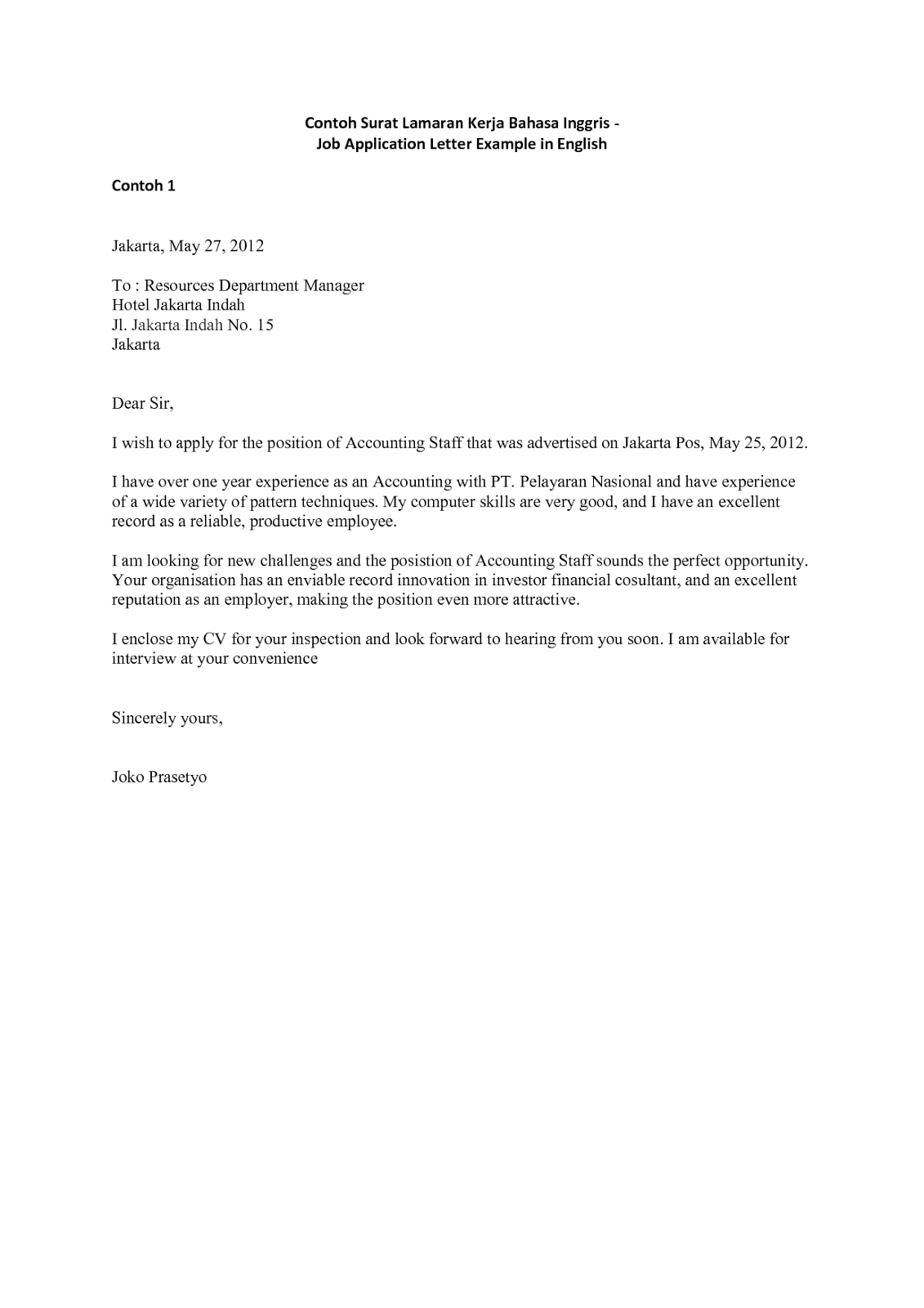 Surat Lamaran Kerja Dalam Bahasa Inggris yang Baik dan