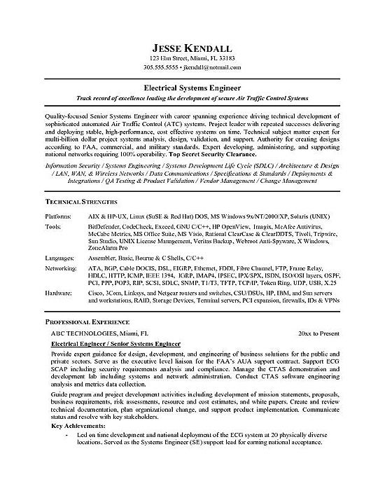 sample electrical engineer resume objective volumetrics co