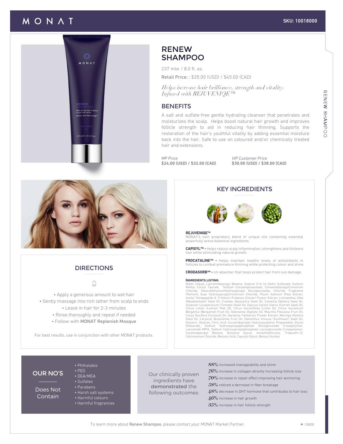 MONAT Renew Shampoo Infosheet Hair loss, Monat hair and