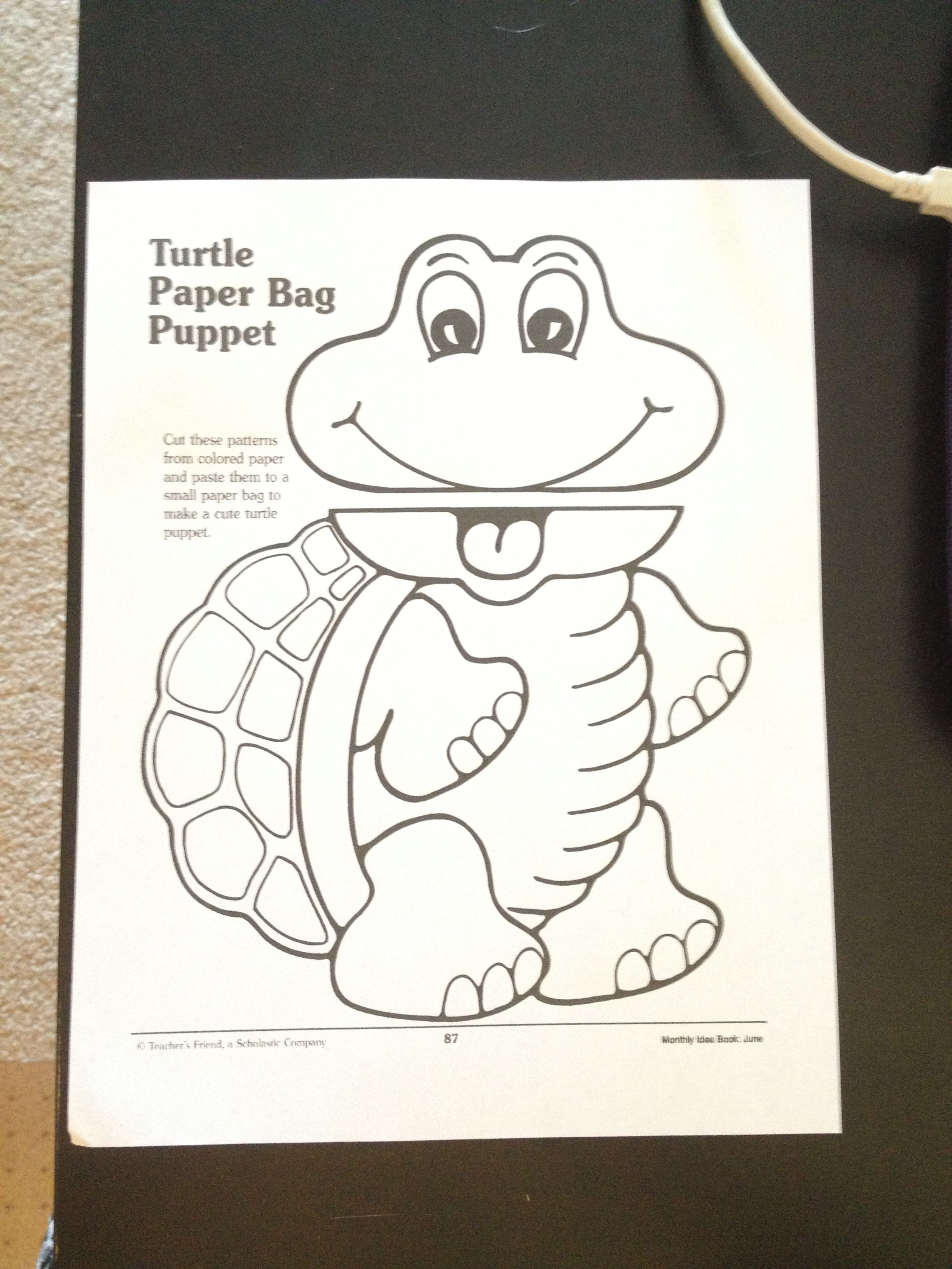 Free Turtle Paper Bag Puppet So Cute A Great Addition To