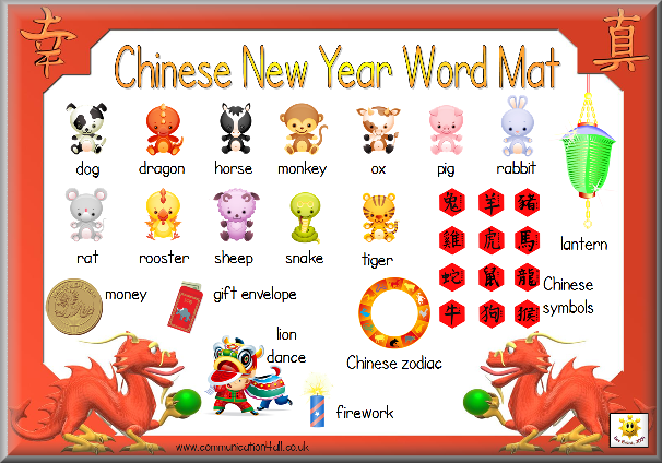 Printable mat with 12 animals and Chinese characters. This