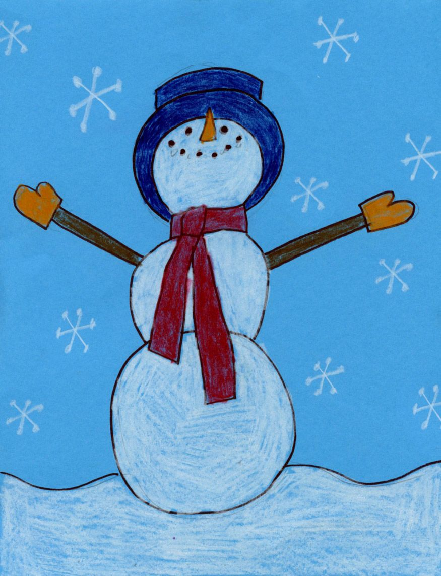 Art Projects for Kids Snowman Drawing we made something