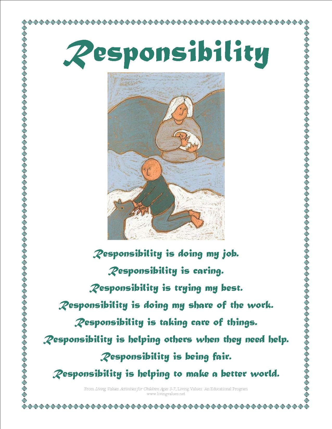 Responsibility Activity Sheets