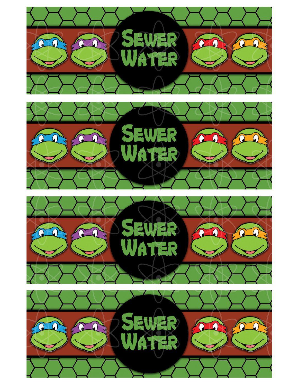 Printable Waterbottle Labels Teenage Mutant Ninja Turtles