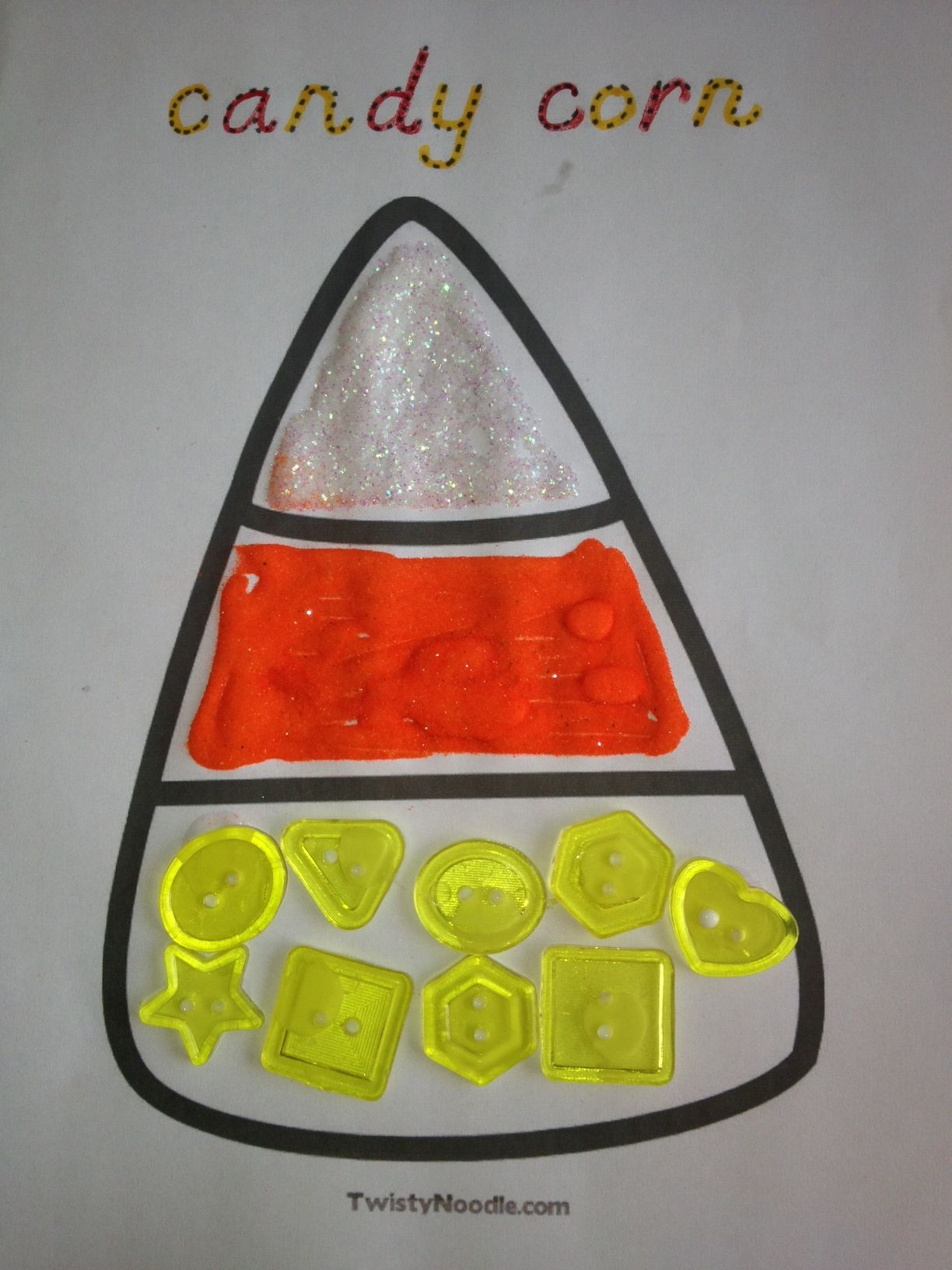 Candy Corn Glue Glitter Colored Sand And Buttons