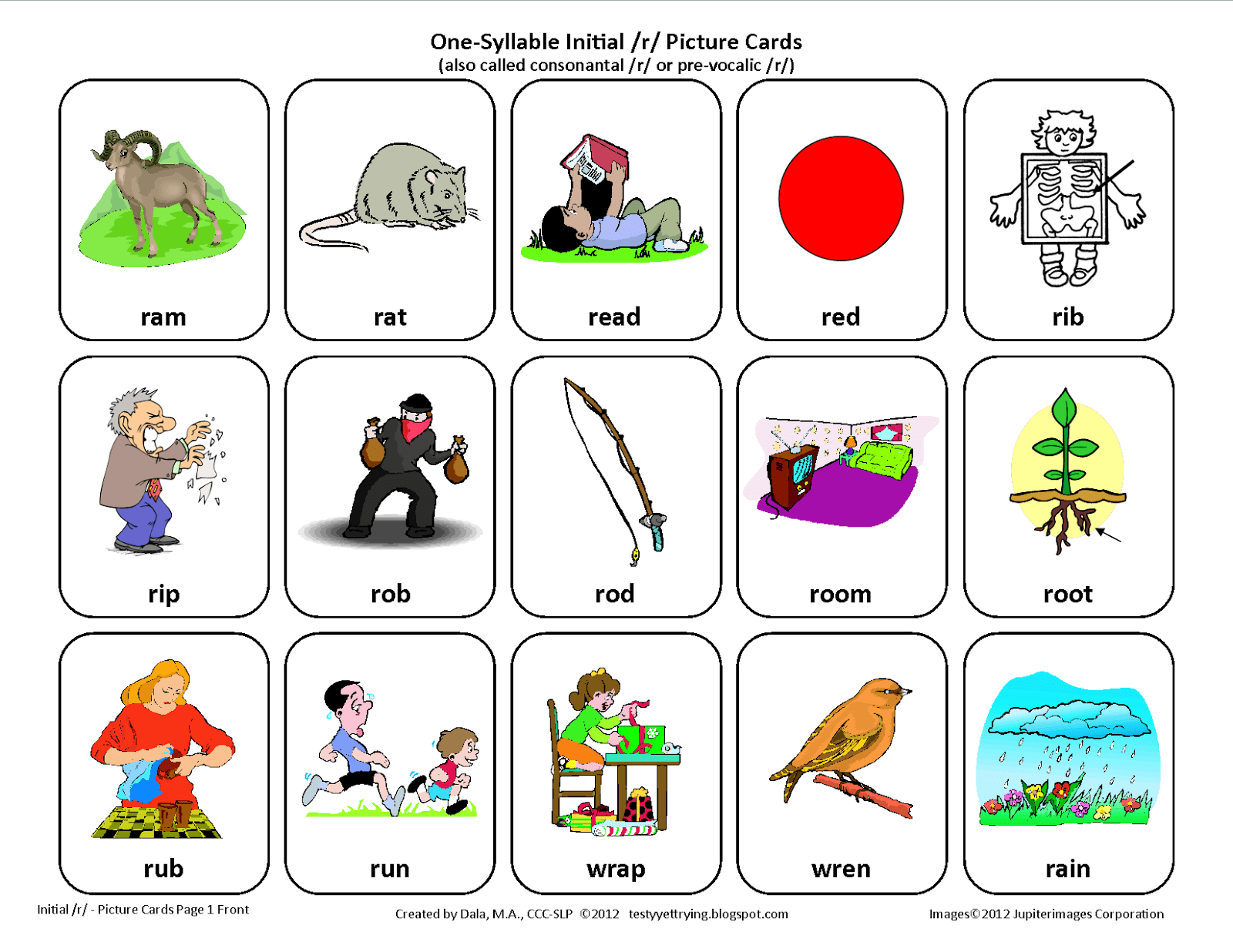 Speech Therapy Articulation Picture Card One Syllable